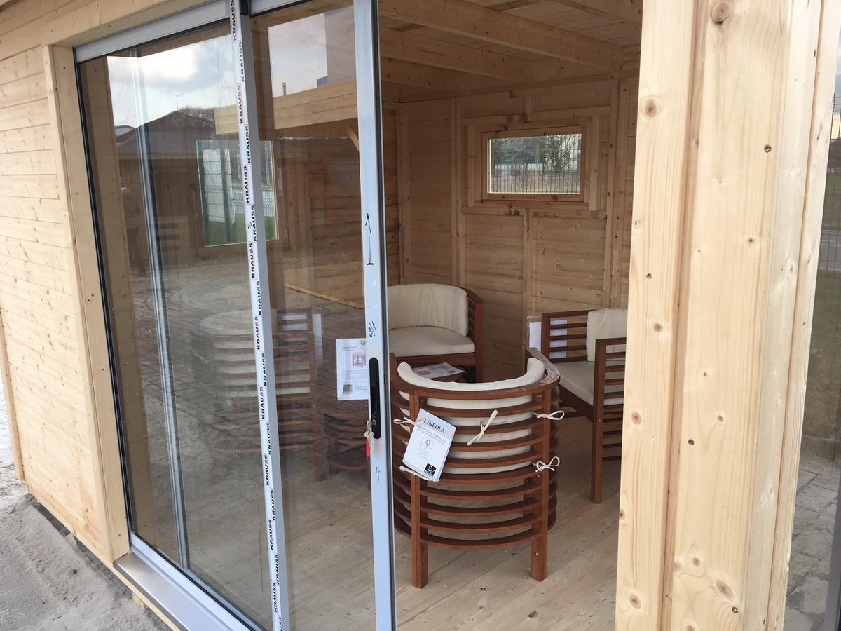 gartenhaus mit schiebet r iso 364x275cm 19mm wandelemente. Black Bedroom Furniture Sets. Home Design Ideas