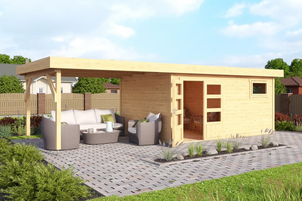 2-Raum Haus 420x280cm 40mm Bohlen mit Boden mit Aufstellfenster ...