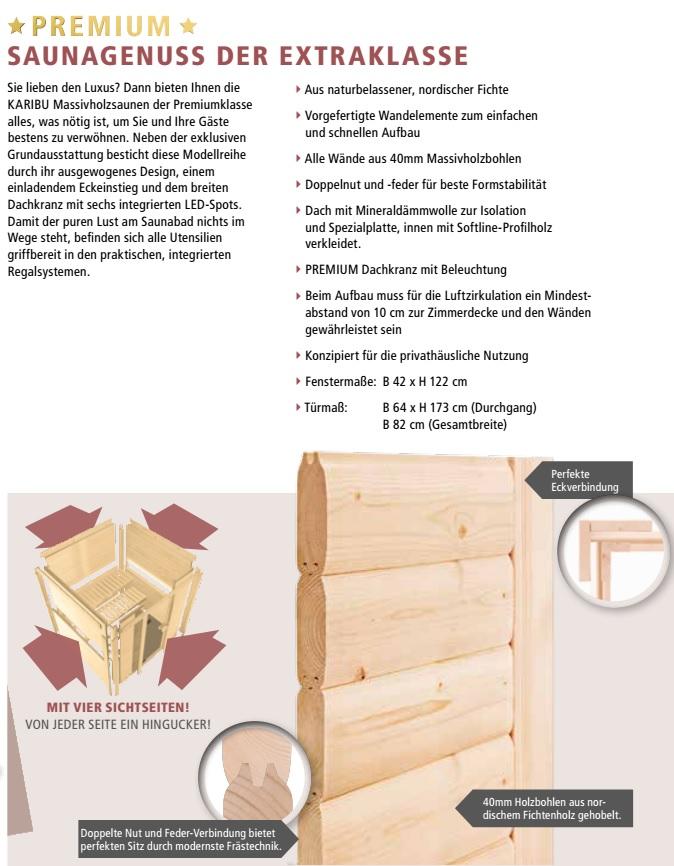 premium saunen inkl vollausstattung. Black Bedroom Furniture Sets. Home Design Ideas